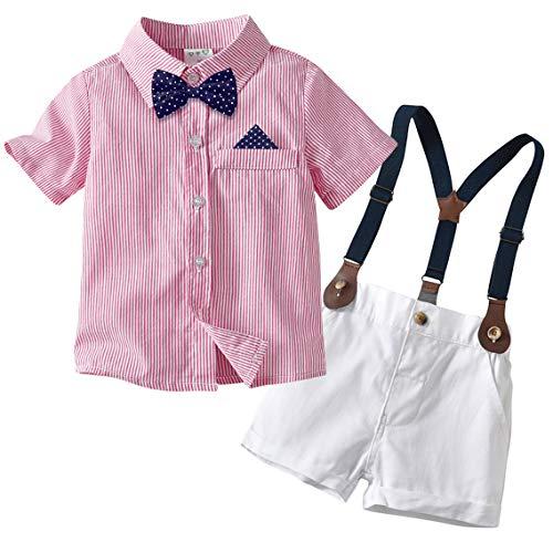 Edjude Traje de Caballero Bebé Niños 4 Piezas Conjuntos de Ropa Camisa Formales Partes de Arriba de Manga Corta Tirantes Pantalones Corbata de Moño 0-6 Meses Rosado