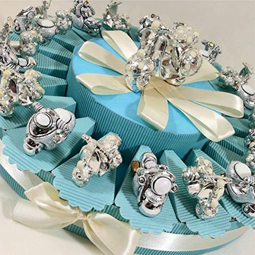 bomboniere nascita, battesimobomboniere vespa e moto bimbo su torta portaconfetti - torta 20 fette + oggetti + centrale + confetti