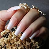 EDA LUXURY BEAUTY NATURAL NUDE PINK WHITE OMBRE FRENCH LUXE DESIGN Full Cover Press On Nails Acrylic Nail Kit Artificial Nail Tips False Nails Extra Long Ballerina Coffin Square Nail Art Fake Nails