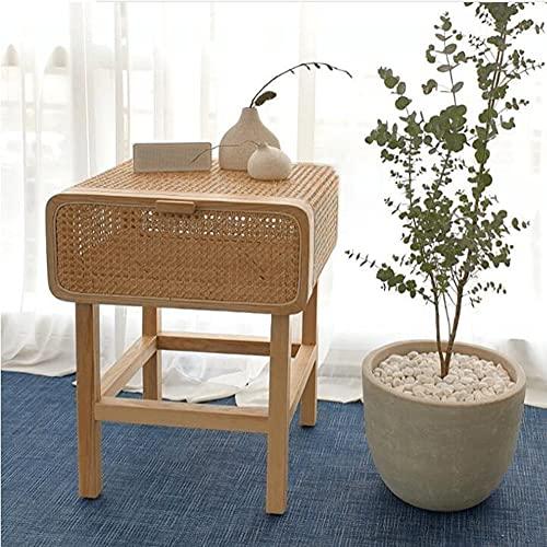 LIANG Mesita de noche de ratán con cajones, escritorio de efecto de madera de fresno – mesa de café para el hogar, oficina, dormitorio, sala de estar, pasillo (color: 02)