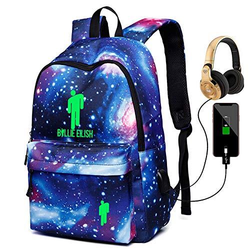 Billie Eilish Anime Zaino con porta di ricarica USB, borsa per computer portatile, ideale per uomini e donne all'aperto, borsa per la scuola (Galaxy blu2)