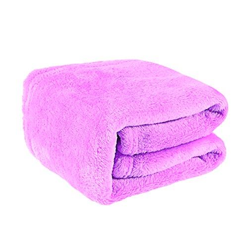 VOSAREA Coberturas y Mantas para sofá Cama Sofá de Camilla Franela de Lana Manta de Tiro Cozy Solid Color 50x70cm - Light Purple
