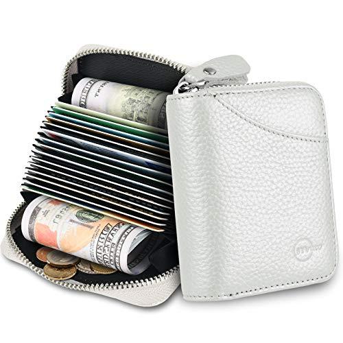 MUCO Tarjeteros para Tarjetas de Credito, RFID Wallet Pasaporte, Piel Auténtica, Titular de la Monederos con Cremallera (Plateado)