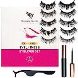 Magnetic Eyelashes Magnetic Eyeliner and Lashes Kit - 5 Pairs Reusable 3D False Eyelashes with Tweezers | No Glue, Waterproof Eyeliner | Natural Look