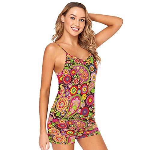 Mnsruu Paisley Flower Ladybug Mariquita Poppy Pijamas Pantalones Cortos Conjunto Mujeres Dormir Lencería Satén Ropa de Dormir