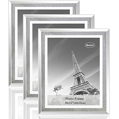 Meetart Sparkle Crystal Silver Glitter Mirror Glass Photo Frame for Photo Size 8x10 Pack of 3 Piece.