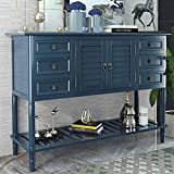 Modern Console Table 45 Inch Wood Sofa Table Entryway Storage Cabinets with Drawers & Open Shelf for Living Room, Entryway, Kitchen, Bedroom (Navy Blue)