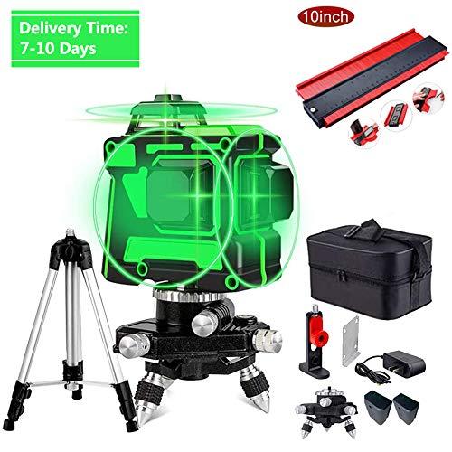 Automatische Selbstnivellierende Rotary Laser Level Green Beam,Kann an Wänden Verwendet Werden,360-Grad 3D 12 Laserlinie,+ + 7M Staff Range,12Lines(2 Batterien)
