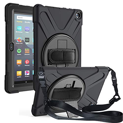 DTangLsm HD 8 Case 2020 [Heavy Duty] Full-Body 3 Layer Shockproof Protective Rugged Case w/Screen Protector+360° Swivel Stand+Hand Strap+Shoulder Strap for Fire HD 8 Plus & HD 8 10th Gen 2020, Black