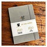 Agenda de bureau avec grille en forme d'écureuil et carnet de croquis – Cuir PU, 160 g/m² Papier rétro épais (couleur : gris, taille : 160 pages)
