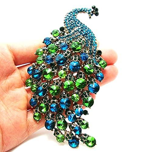 Rongxin Exquisito broche de pavo real con circonitas y diamantes de imitación para asistir al banquete de baile de fin de curso, accesorios de bisutería (color metálico: azul)