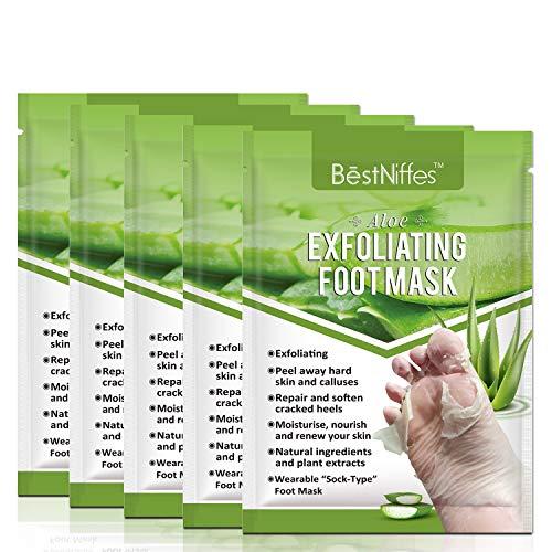 Foot Mask Peeling 5 Pack,Soft Callus Peeling Dead Skin Remover Exfoliating Socks Dry Rough Heels Treatment Beauty Aloe Feet Mask Natural