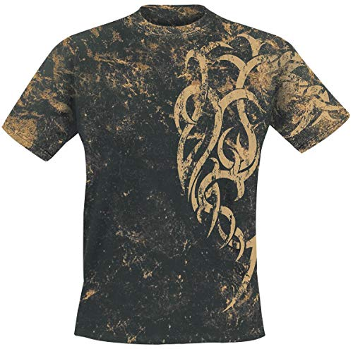 Outer Vision Marble Tattoo Homme T-Shirt Manches Courtes Noir L, 100% Coton, Regular/Coupe Standard