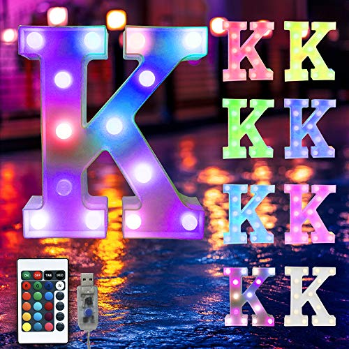 16 Color Changing Marquee Letter Light,Light Up Colorful 26 Alphabet Signs – Home Decor Name Signs – USB Powered LED Remote Timer – Lighted Vintage Accessories