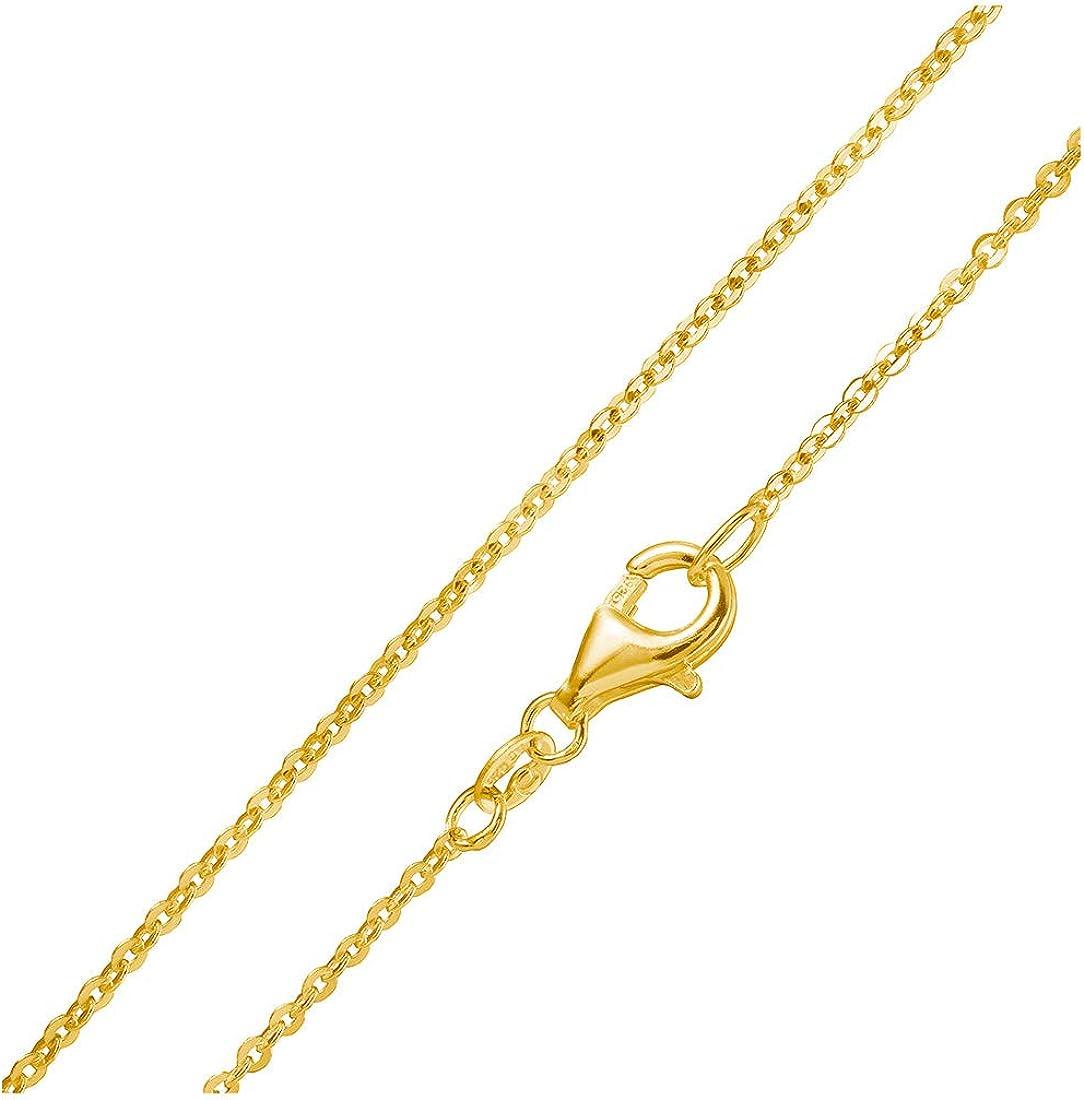 MATERIA Gold Ankerkette 925 Sterling Silber 1mm Halskette vergoldet in 40-80cm verf/ügbar #K61