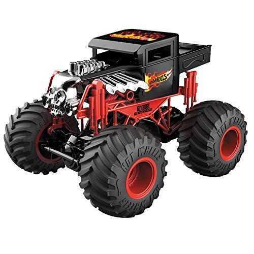 Mondo Motors – Hot Wheels Monster Trucks Bone Shaker – Batterie-Set inklusive – ferngesteuertes Kinderauto – Farbe Rot/Schwarz – 63648
