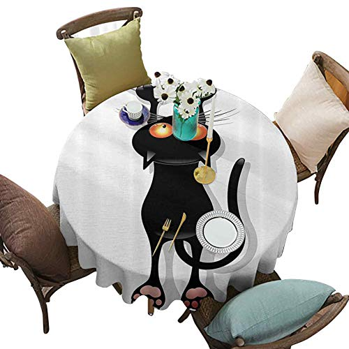 Round Waterproof Tablecloths Angry Furry House Cat Scratching Curtains Best Friend Companion Happy Paws Artsy Image 70 Inch Round Great for Buffet Table/Parties/Holiday Dinner Black White