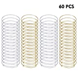 60 PCS Expandable Bangle Bracelet Adjustable Blank Wire Chains for DIY Jewelry Making, Silver and Gold