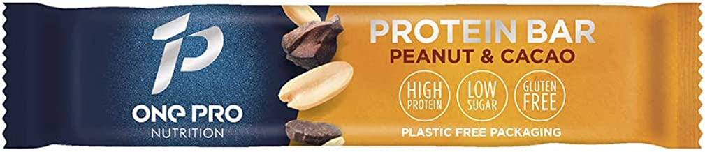 ONE PRO Nutrition Protein Bars 12 Bars Naturally Sweetened Peanut and Cacao Flavour Gluten Free and Vegan Friendly Protein Bars 17g Protein 14g Fibre and 3g Sugar per Bar – 12 Bars Estimated Price : £ 28,50