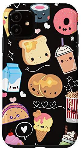 iPhone 11 Kawaii Food Phone Case Cute Gifts for Girls in Black Case