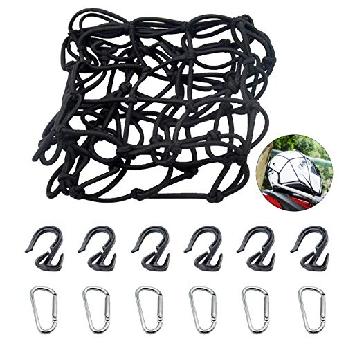 """Y.A. LOTUS Motorcycle Cargo Net Black, 15"""" x 15"""" Stretch to 30"""" x 30"""", Featuring 6 Adjustable Hooks & Tight 2""""x2"""" Mesh, 6 Metal Carabiners Included, for Motorcycle, Surfboard, Bicycle, SUV, Roof"""