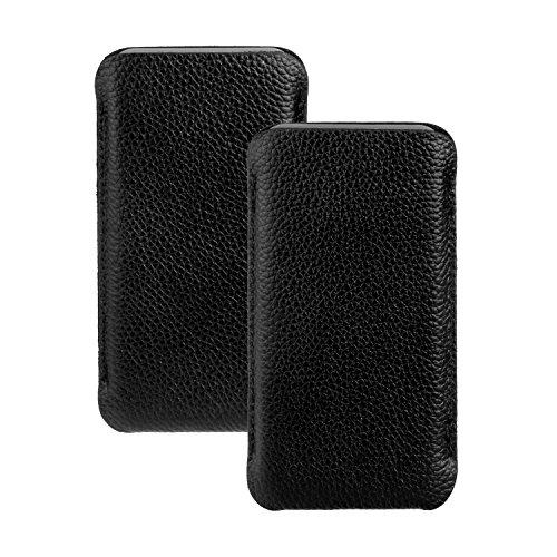 yayago Design Leder Tasche für Medion Life X5520 (MD99657) Etui Hülle black ledertasche Schwarz