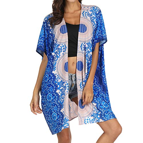 Vertvie - Kimono para mujer, verano, bohemio, túnica de playa, estampado de flores, chaqueta floral, vestido de playa