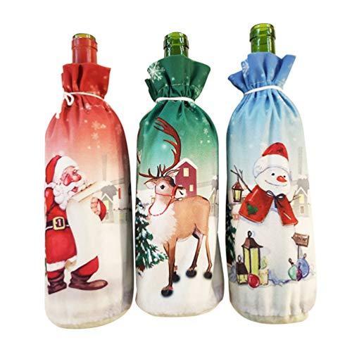 Amosfun 3 Stks Kerstmis Wijnfles Cover Kerstmis Wijntassen Kerstman Rendier Champagne Kerstmis Gift en Feest Kerstmis Tafel Decor