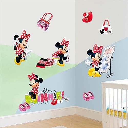 HUNSHA moda minnie pegatinas de pared para niños habitaciones niñas partido regalos decoración del hogar dibujos animados vinilo mural arte diy carteles
