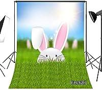 新しい5x7ftイースター写真の背景春の緑の草のかわいいウサギの写真の背景写真スタジオの小道具カスタマイズされた687