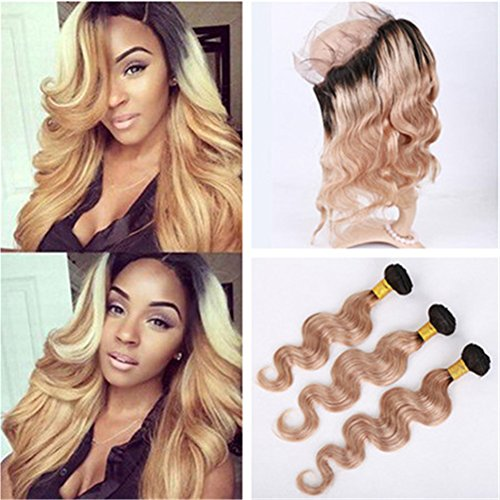 Tony Beauty Hair Two Tone 1B/27 Honey Blonde Ombre 360 Full Lace Frontal Closure With Bundles Light Brown Ombre Virgin Brazilian Hair With 360 Band Closure Pre Plucked (18 with 20 22 24)