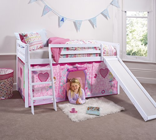 Noa and Nani - Midsleeper Cabin Bed with Slide and Fairies Tent - (White)
