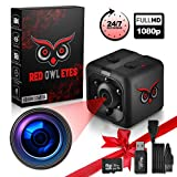 RED OWL EYES Spy Camera - Mini Hidden Camera 1080P Night Vision - Easy to Use Mini Camera Spy Wireless - Spy Cam Motion Detection - Nanny Camera - Small Camera - Secret Camera - 24/7 Recording