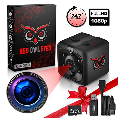 Fantastic Prices! RED OWL EYES Spy Camera - Mini Hidden Camera 1080P Night Vision - Easy to Use Mini...