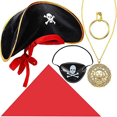 Juego de 5 Accesorios de Disfraz de Capitán de Pirata Sombrero de Pirata Parche de Ojo de Calavera Diadema Roja Pendiente de Aro Dorado Collar Colgante de Moneda de Calavera para Halloween