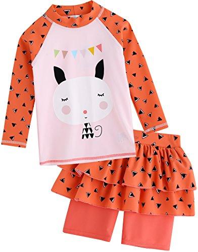 Vaenait baby 2T de 7T Niños Maedchen Rashguard Kiama–Camisa de Manga Larga y pantalón Corto, Mingo Cat, Large
