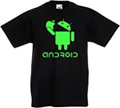 lepni.me Kids T-Shirt Android Eating The Apple - I Love Cool Tech Gadgets, Geek Nerd Humor