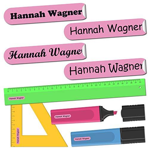 INDIGOS UG® Namensaufkleber Sticker - 36x7 mm - 300 Stück für Kinder, Schule und Kindergarten - Stifte, Federmappe, Lineale - Hintergrund rosa - individueller Aufdruck