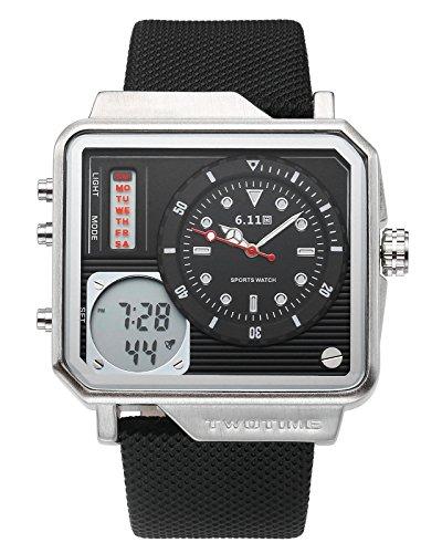JSDDE Uhren,Herren Armbanduhr LCD Digital+Quarz Uhrwerk Kalender Stoppuhr Wasserdicht Multifunktionsuhr NO.QY42-04