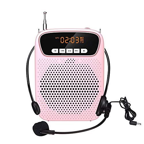 Voice-Verstärker Tragbare Bluetooth Wiederaufladbare PA System Lautsprecher, drahtlose Bluetooth-Konferenz Headset, Kopfhörer mit Draht-Mikrofon GAONAN (Color : Pink)