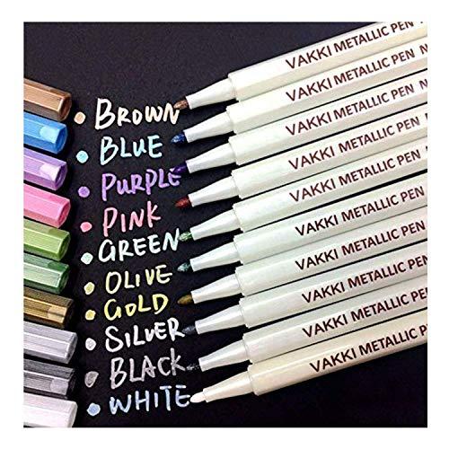 Vakki Metallic Marker Pens, Satz von 10 Farben für Kartenherstellung DIY Fotoalbum Gebrauch auf irgendeiner Oberfläche-Papier Glas Kunststoff Keramik