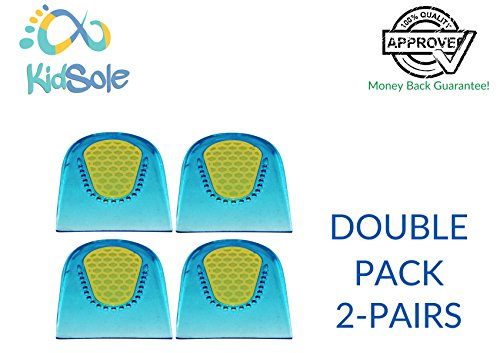 2 Pair - 4 Heel Cups - KidSole Shock Absorbing Lightweight Gel Heel Cups for Kid