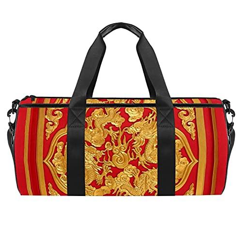 Bolsa de viaje resistente al agua para deportes de gimnasio y viaje, con vestido de dama, Madera tallada en puerta roja estilo chino, 45x23x23cm/17.7x9x9in,