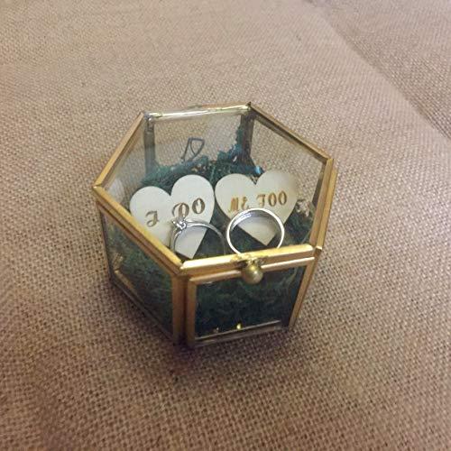rainluckyrain I DO ME Too- Caja de Cristal de Boda con Anillo de Cristal Hexagonal, cojín con Anillo de Cristal, Caja de Cristal Personalizada, Regalo de San Valentín, Dama de Honor