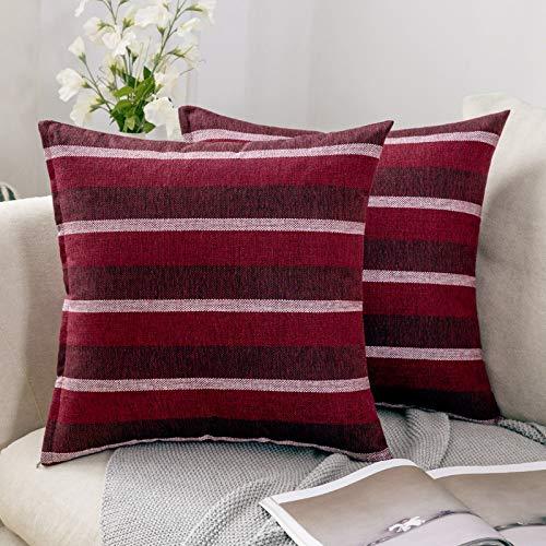 MIULEE 2er Pack Leinenoptik Home Dekorative Streifen Kissenbezug Kissenhülle Kissenbezug für Sofa Schlafzimmer Auto mit Reißverschlüsse 45x45 cm Rot