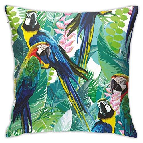 Kissenbezug Kissenhülle Kissenbezüge Kopfkissenbezug Baumpapagei mit Verstecktem Reißverschluss für Sofa Auto Bett,45x45CM
