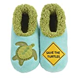 Snoozies Womens Slippers - Womens House Slipper Socks - Save The Turtles Pairables - Medium