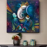 CloudShang Ganesha Ganesha Nórdico De la Lona Salon de Decoracion Colorido Pintura Ganesha Pared Arte Religiosa Poster Ganesha Dios Cuadros Salon Recamara Poster E31130