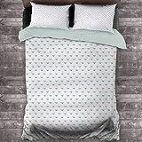 Toopeek Diamonds - Juego de cama (2 camas, diseño geométrico), diseño de rombos y líneas en la colección de rocas naturales, poliéster, suave y transpirable, color azul y blanco