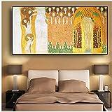 A&D Beethoven-Fries von Gustav Klimt Gemälde auf Leinwand Kunstplakate und Drucke Wandbild für Wohnzimmer -60x120cm Kein Rahmen